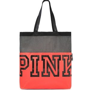 VS PINK Mesh Tote in Neon Red